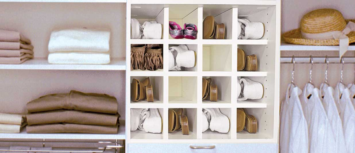 Use cubbies for organizing shoes