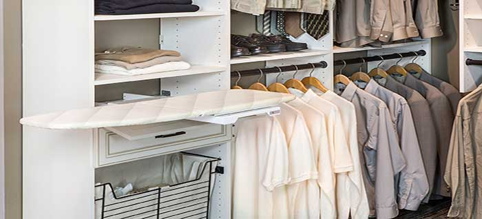 hidden built-in ironing board for closet