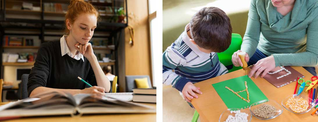 A teen and a younger child doing different types of homework