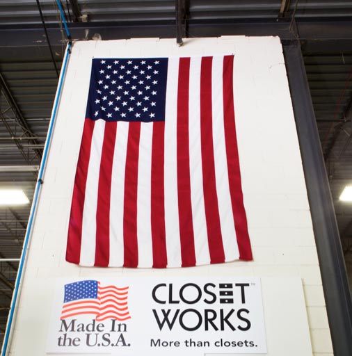 Closet Works proudly displays the USA flag in their Elmhurst Illinois headquarters