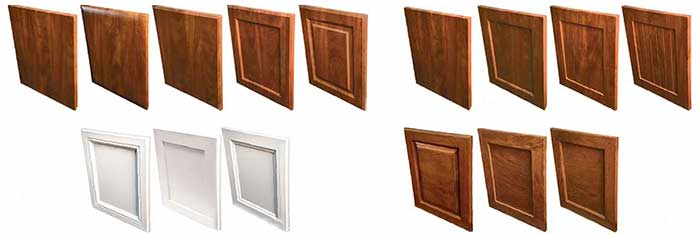 Types of laminate and wood closet cabinet doors