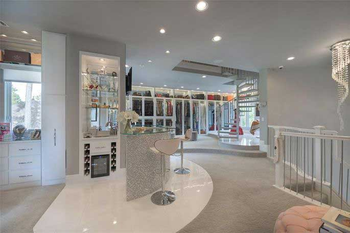 Champagne bar on second floor of luxury master closet