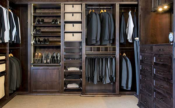 Mens Closet With Double Hang Organizers