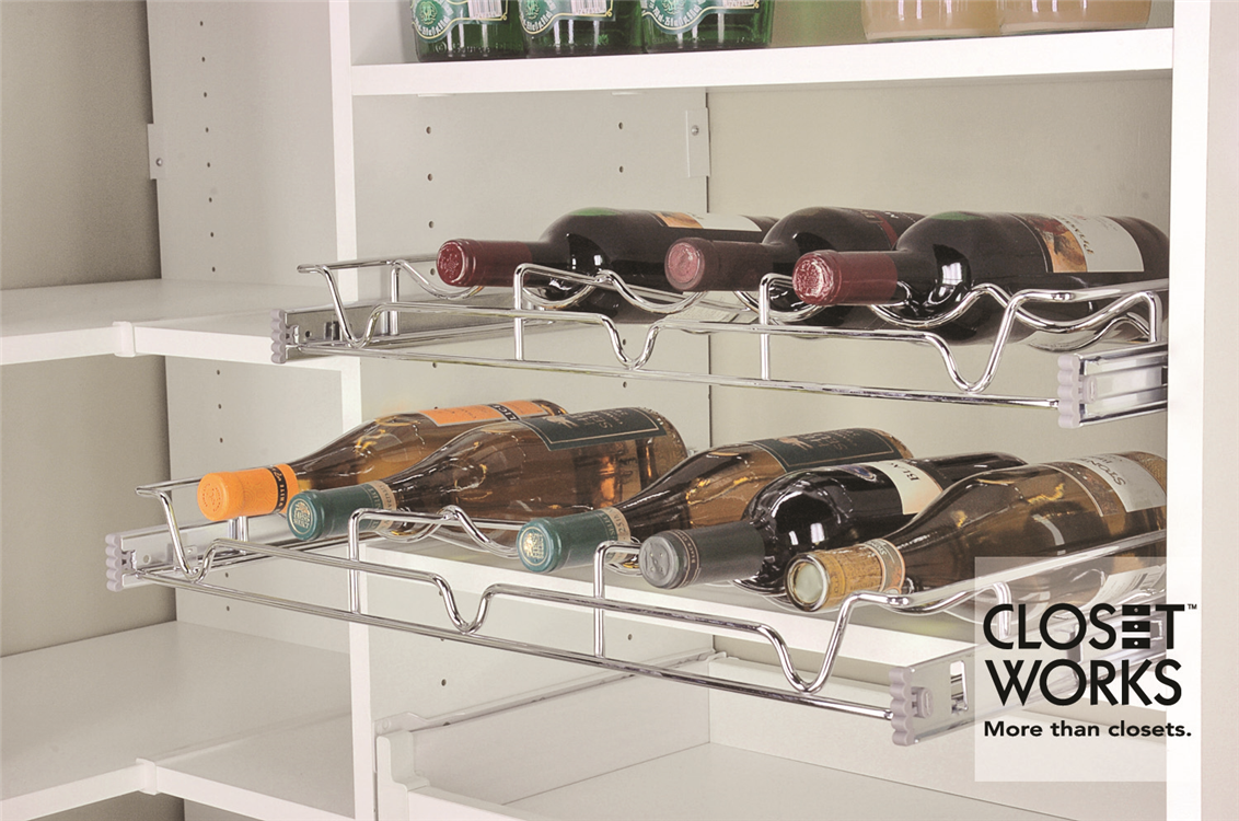 Pull-out wine bottle storage rack is perfect for storing your larger bottles in the pantry
