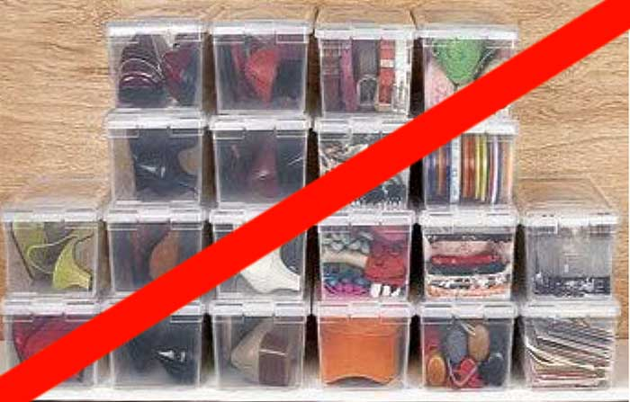 shoes in plastic shoe boxes for temporary storage