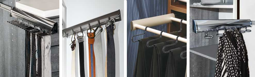 Pull-out racks and closet accessories customize a simple wall closet