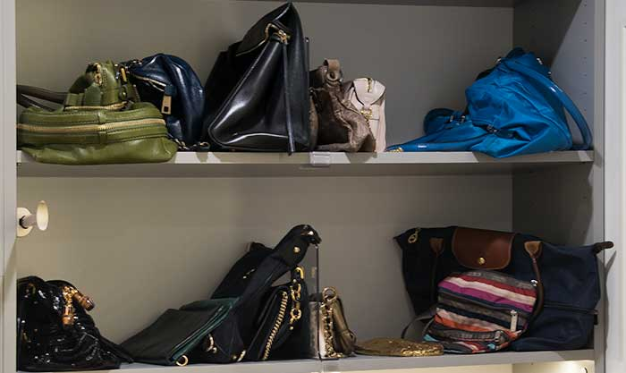 purses on shelf