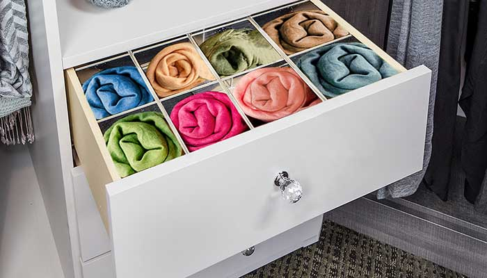 drawer with divider to organize scarves