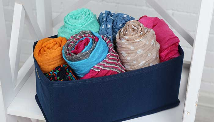 Scarves organized in basket
