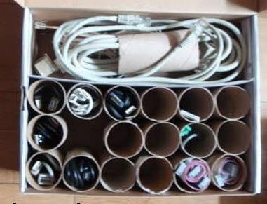 toilet paper rolls can be useful to organize electronics