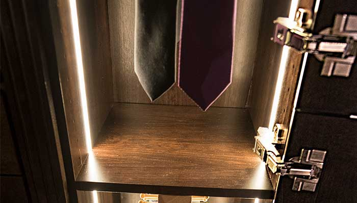Vertical LED tape lighting for cabinet