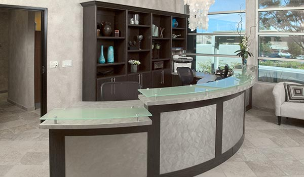 Modern Reception desk and wall unit storage for commercial office