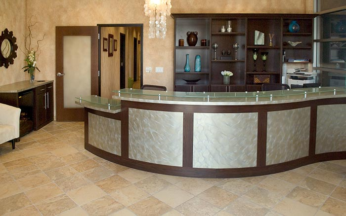 Professional office reception area and storage systems for a Chicago business