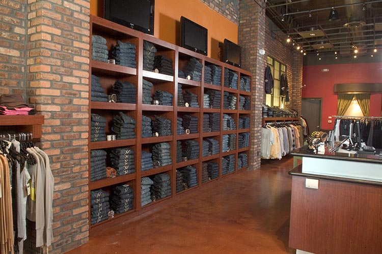 Retail store clothing organization system and display wall units
