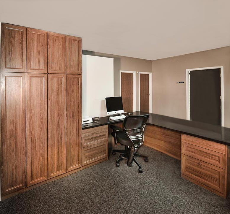 receptionist desk, work area and office storage for commercial business