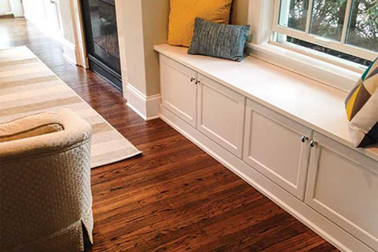Custom window seat with 3/4 inch laminate bench seating