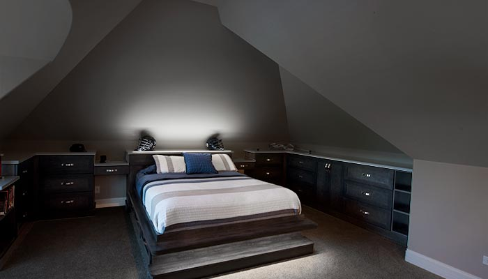 custom lighting solution integrated into bed