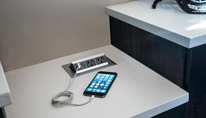 Custom pop-up charging station for USB and electrical devices with iphone