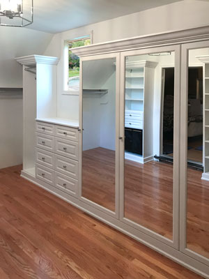 custom walk in closet and dressing room