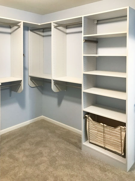 walk in closet organization system in canvas thermally fused laminate - TFL