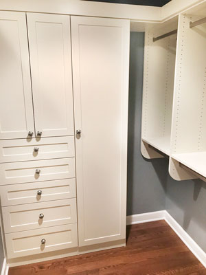 custom walk in closet in ivory