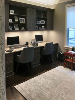 home office with custom led lighting
