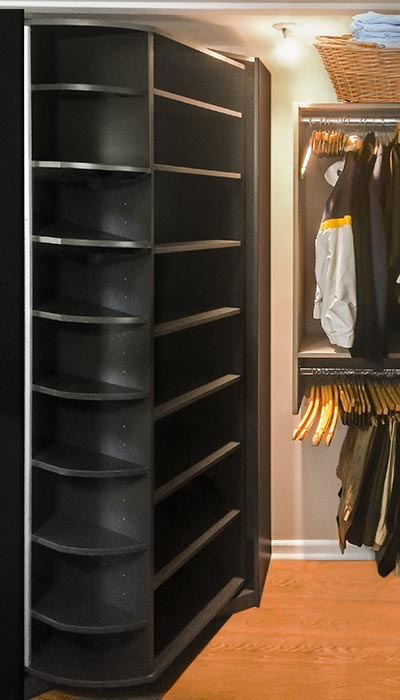 closet with the 360 Organizer in Slate - dark gray thermally fused laminate