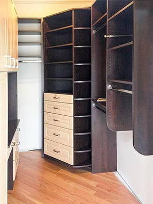 master bedroom closet with 360 Organizer Valet closet organization system