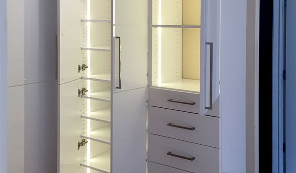 Custom wardrobe closet system with wardrobe closets lighting