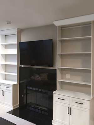 bookcase design around a fireplace
