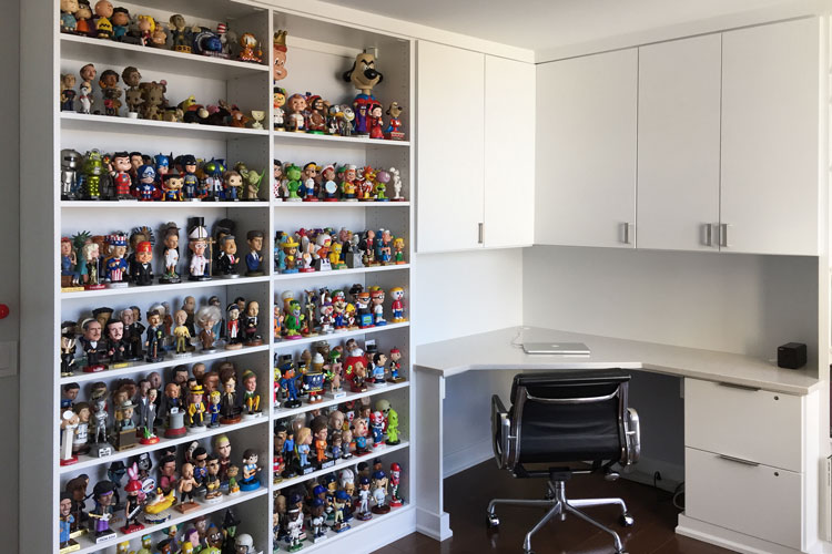 personalized office with memorabilia storage ideas
