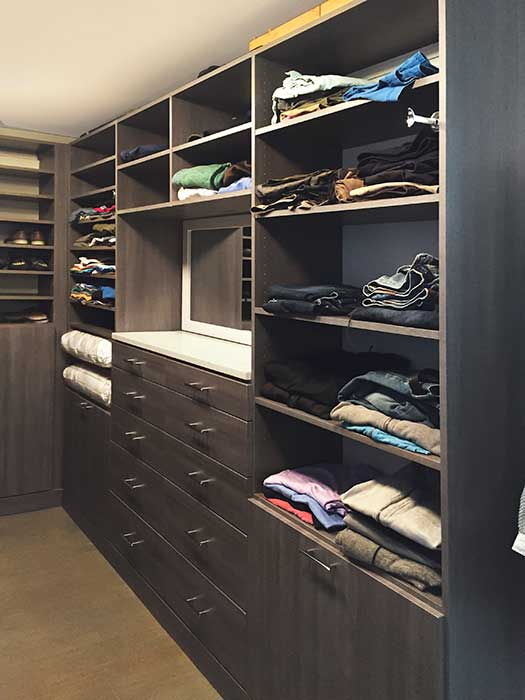 shared closet organization ideas include a built-in dresser