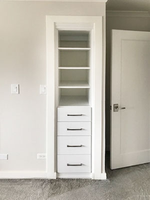 small linen closet with rail covering