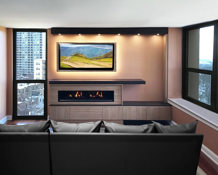 modern electric fireplace with fireplace surround, floating cabinets and lighting