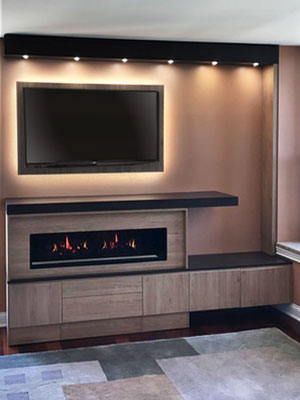 fireplace surround cabinets in ginger root