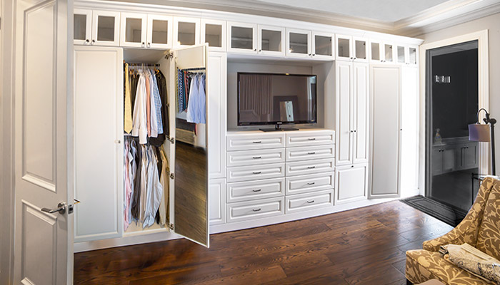 combination closet and entertainment center