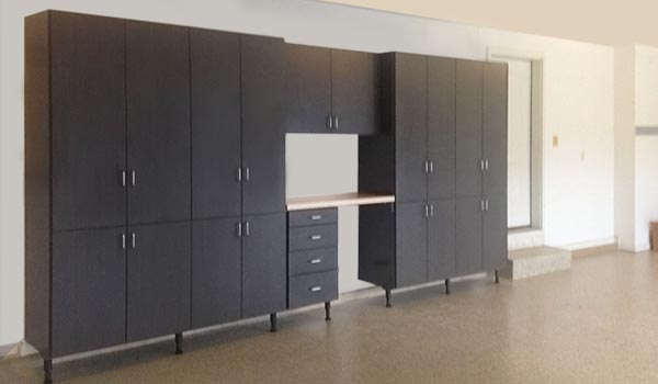 custom garage cabinets with built-in workbench