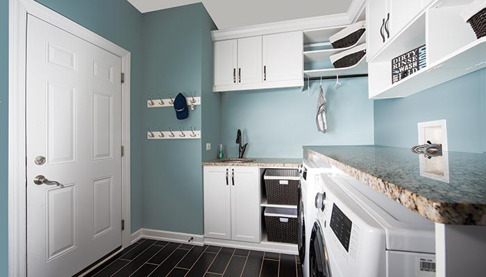 Laundry room mud room combination organization and storage for Bathroom mudroom combo