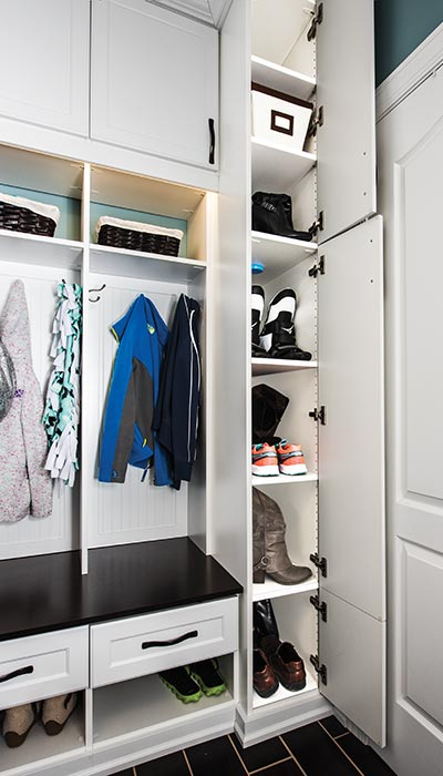 Mud Room Organization with Extra Storage for Footwear