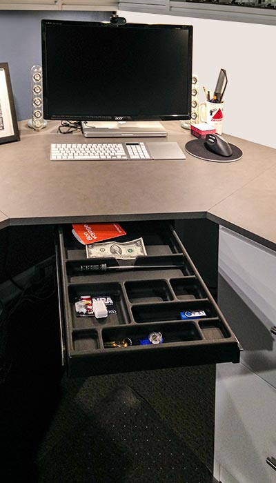 built in desk under stairs includes a pull-out desk tray organizer