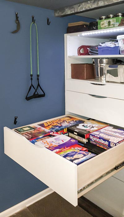reach-in closet video storage drawer for man cave office