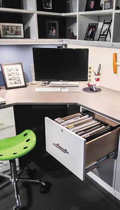 File drawer insert for built in desk under stairs
