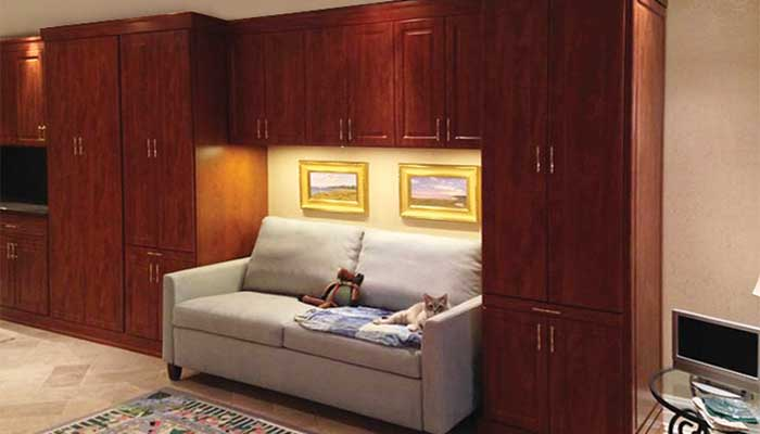 Increase Storage Space with cabinets over sofa