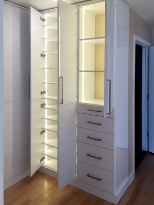 wardrobe style closet with LED lights