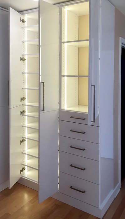 Master Closet with LED closet light system using warm white LEDs