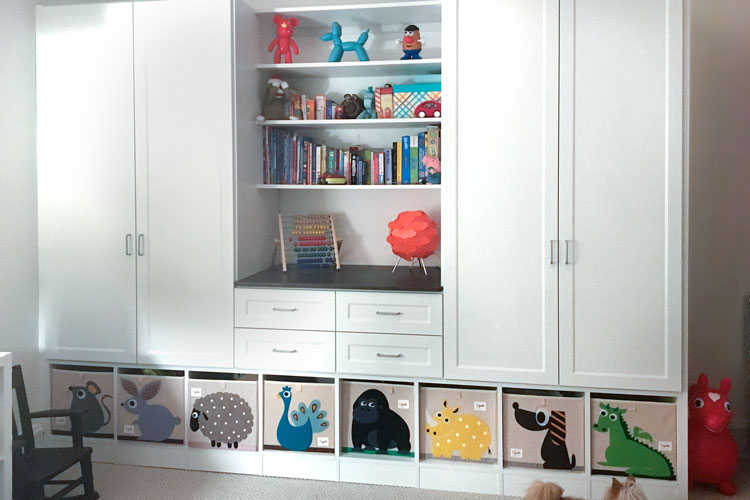 kids wardrobe design with standard hardware