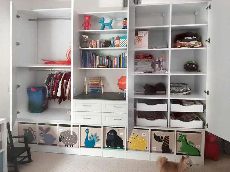 Custom Multiuse Closet Wall Unit And Storage Cabinets For A Childu0027s Bedroom