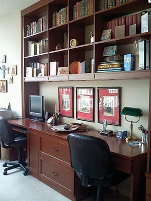 Two person home office designed to beat paper clutter by Closet Works
