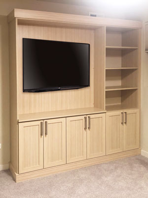 custom wall unit built for guest room