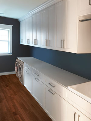 custom laundry room cabinetry and counterspace